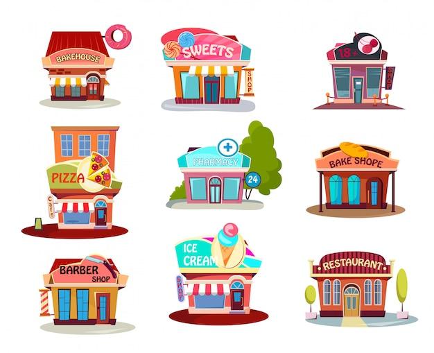 Conjunto de tienda de dibujos animados vector gratuito