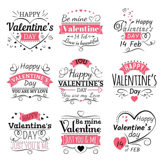 Conjunto de tipografía del día de san valentín Vector Premium