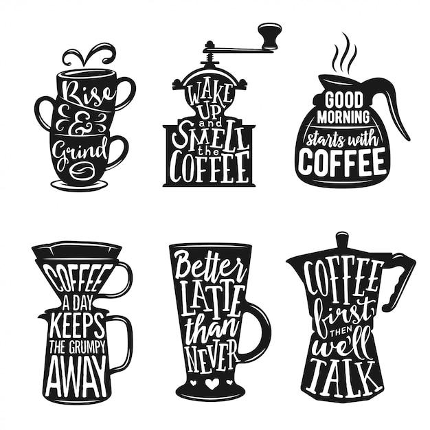 Conjunto de tipografía relacionada con café. ilustraciones de vectores de la vendimia. Vector Premium