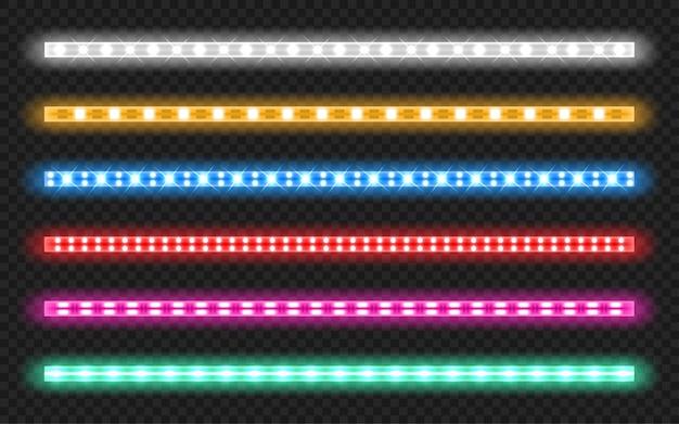 Conjunto de tiras led con efecto de brillo de neón vector gratuito