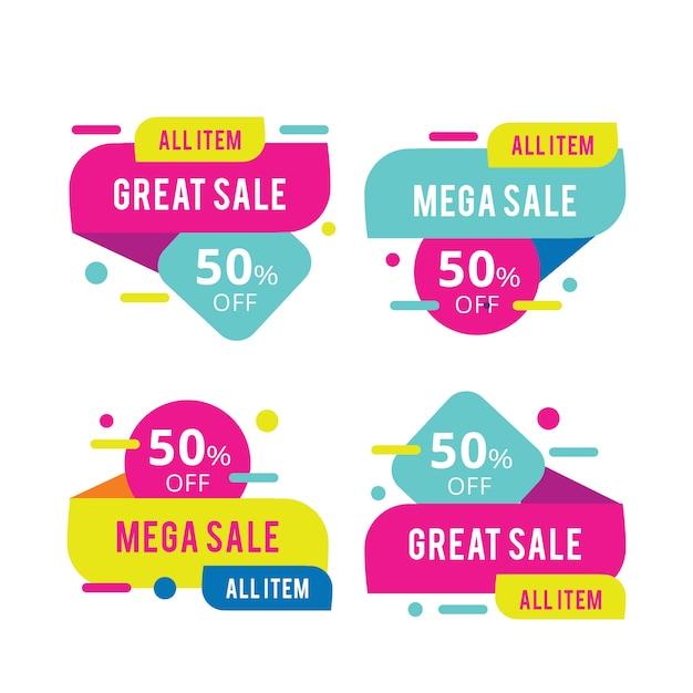 Conjunto de todos los banners de mega venta de artículos vector gratuito