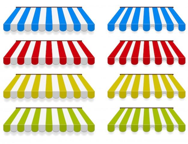 Conjunto de toldos de colores Vector Premium