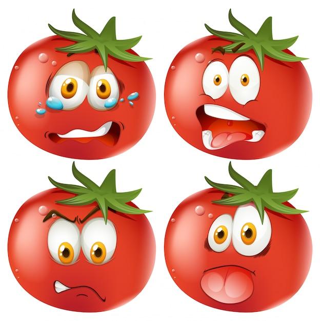 Conjunto de tomates emoticon vector gratuito