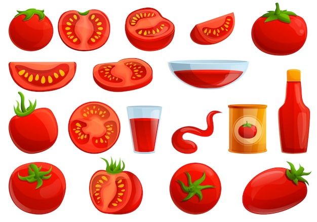 Conjunto de tomates, estilo de dibujos animados Vector Premium