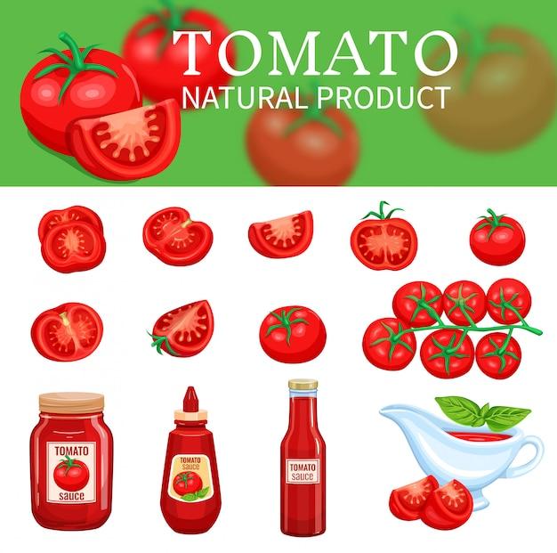 Conjunto de tomates y salsas Vector Premium