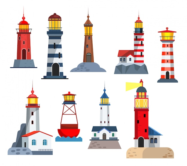 Conjunto de torres de faro vector gratuito