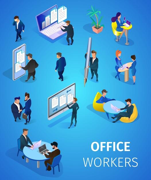Conjunto de trabajadores de oficina vector gratuito
