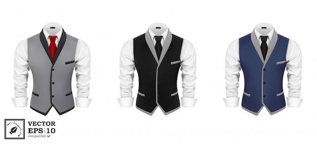 Conjunto de traje de negocios para hombre Vector Premium