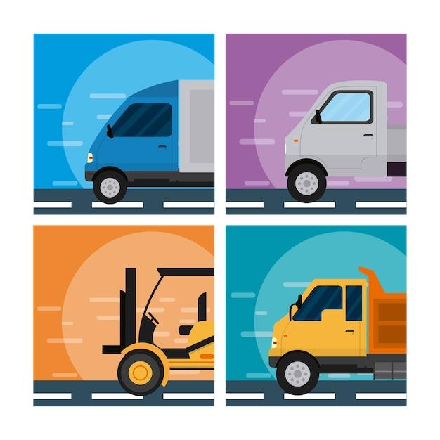 Conjunto de tranport vehículos colección vector ilustración diseño gráfico Vector Premium
