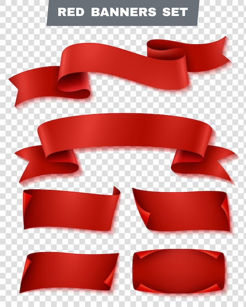 Conjunto transparente de banner de papel rojo vector gratuito