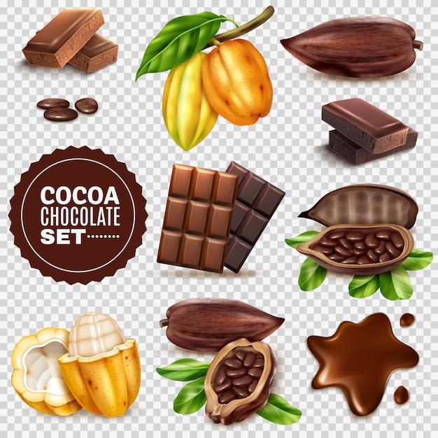 Conjunto transparente de cacao realista vector gratuito