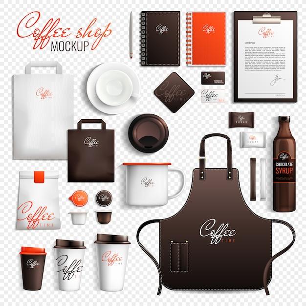 Conjunto transparente de cafetería vector gratuito