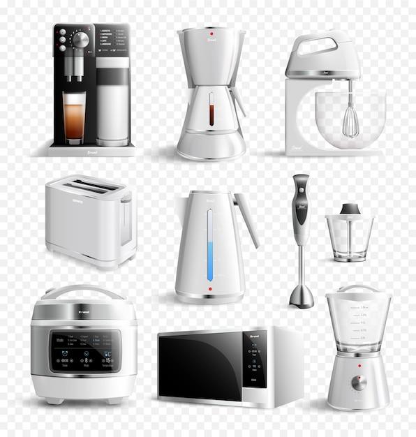 Conjunto transparente de electrodomésticos de cocina blanca vector gratuito