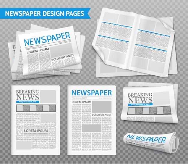 Conjunto transparente de periódico realista vector gratuito