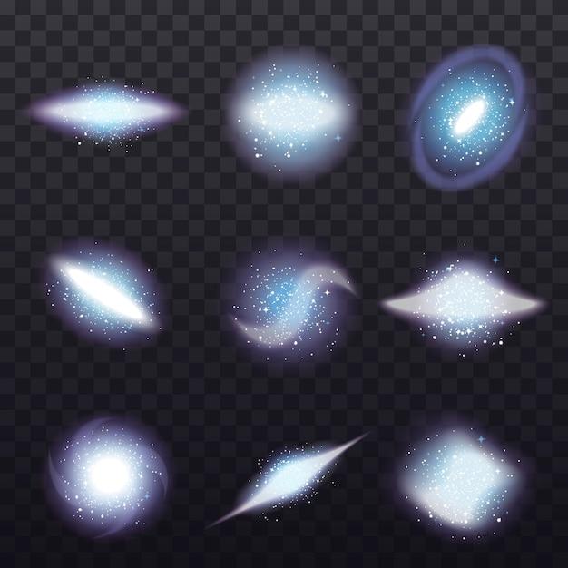 Conjunto transparente de racimo de estrellas vector gratuito