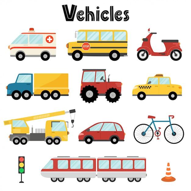 Conjunto De Transportes Urbanos Vector Premium