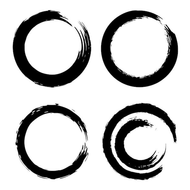Conjunto de trazos de pincel negro en forma de círculo. elemento para cartel, tarjeta, letrero, banner. ilustración Vector Premium