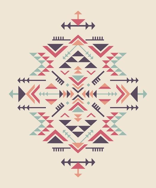 Conjunto de tres elementos de patrón étnico colorido con formas geométricas Vector Premium