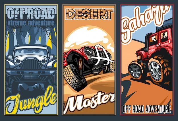 Un conjunto de tres pancartas a todo color sobre el tema de los suv en el desierto y la jungla. Vector Premium