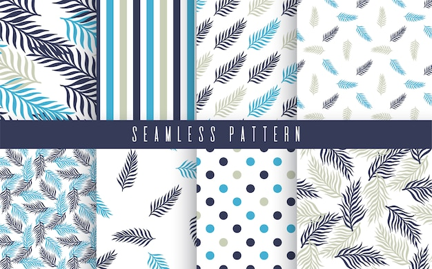 Conjunto tropical de patrones sin fisuras de la planta de palma Vector Premium