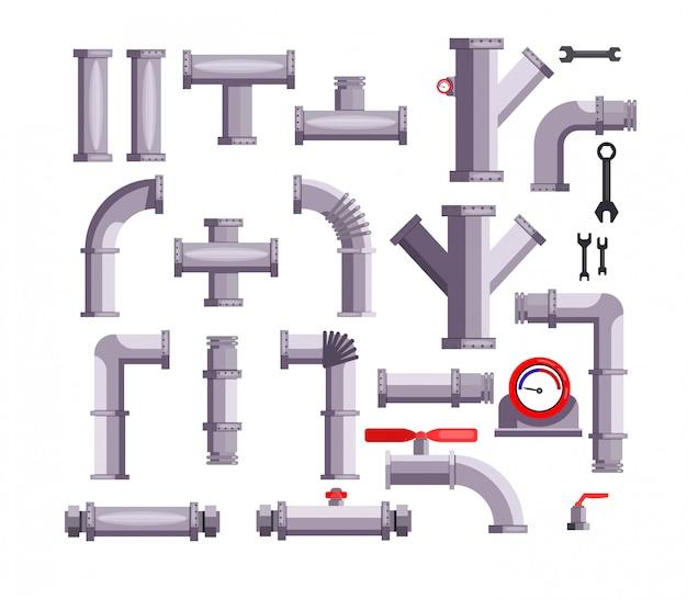 Conjunto de tubos y tuberías. vector gratuito