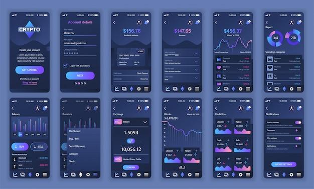 Conjunto de ui, ux, pantallas gui cryptocurrency aplicación plana Vector Premium