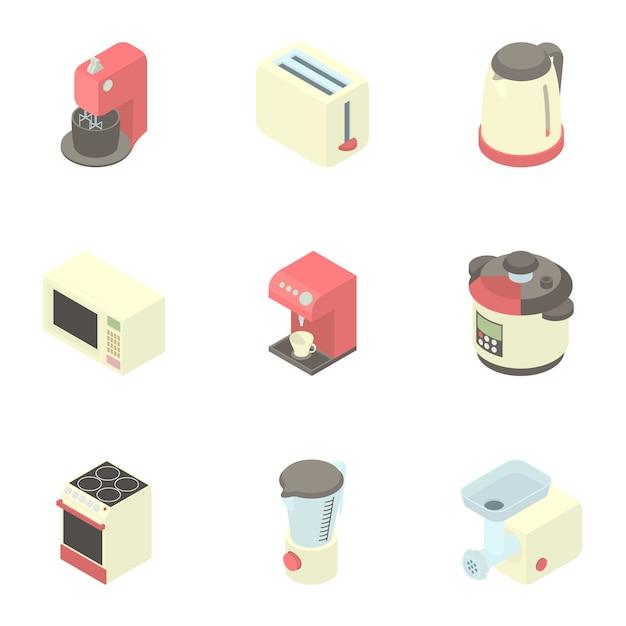 Conjunto de utensilios de cocina, estilo de dibujos animados Vector Premium