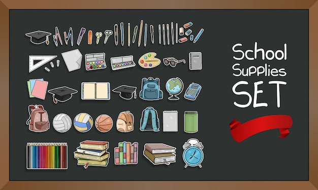 Conjunto de útiles escolares Vector Premium