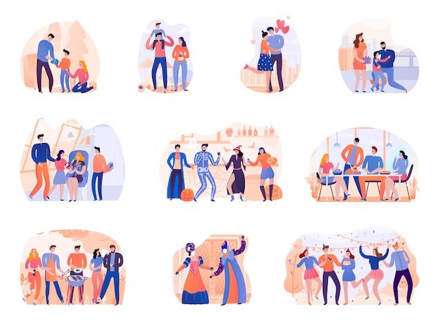 Conjunto de vacaciones de temporada día de nacimiento fiesta de barbacoa de halloween acción de gracias y carnaval de venecia ilustración aislada vector gratuito