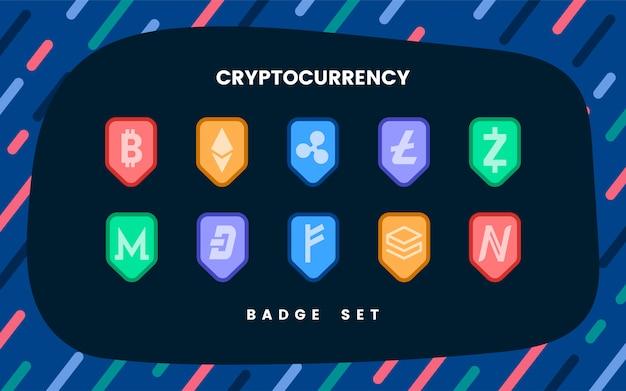 Conjunto de varias criptomonedas símbolo de efectivo electrónico vector gratuito