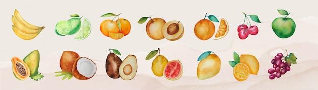 Conjunto de varias frutas acuarelas aisladas vector gratuito
