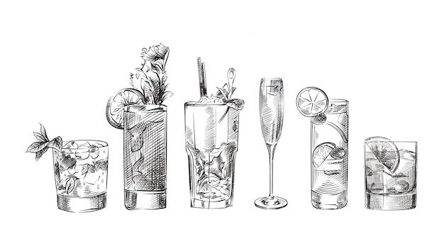 Conjunto de varios cócteles, bebidas bocetos dibujados a mano Vector Premium