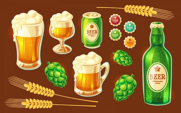 Conjunto de varios contenedores de dibujos animados de vectores para embotellar y almacenar cerveza vector gratuito