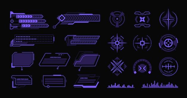 Conjunto de varios elementos planos de hud moderno vector gratuito
