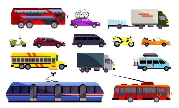 Conjunto de varios vehículos terrestres. vector gratuito