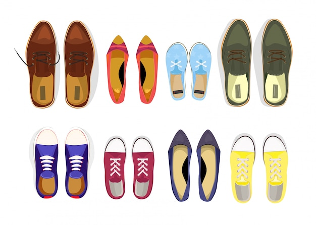 Conjunto de varios zapatos masculinos y femeninos. vector gratuito