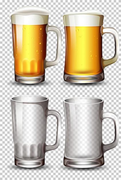 Conjunto de vaso de cerveza vector gratuito