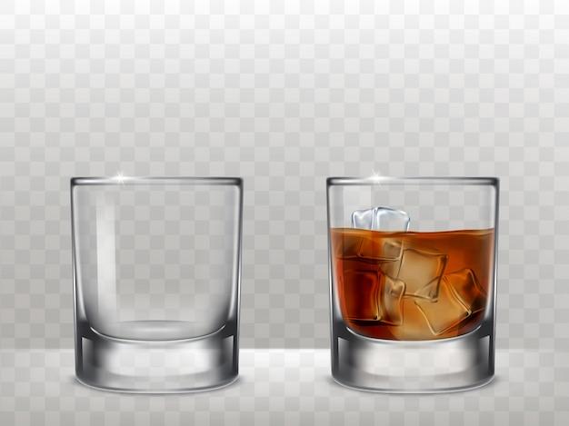 Conjunto de vasos para el alcohol en un estilo realista vector gratuito