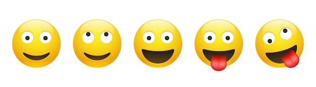 Conjunto de vector amarillo sonriente, soñando, loco, loco emoticon con los ojos abiertos en blanco Vector Premium