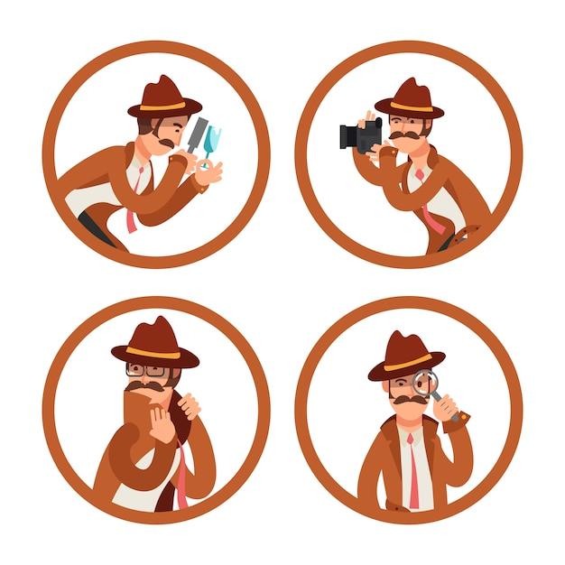 Conjunto de vector de avatares detective de dibujos animados Vector Premium
