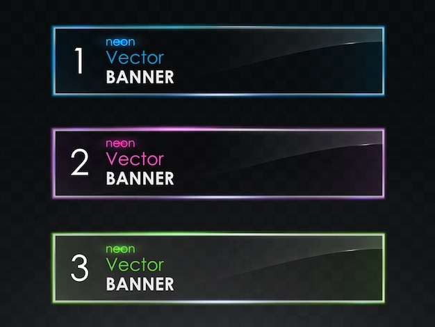 Conjunto de vector de banners horizontales de luz de neón realista vector gratuito