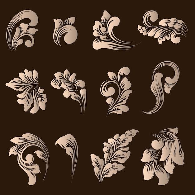 Conjunto de vector de elementos ornamentales de damasco. vector gratuito