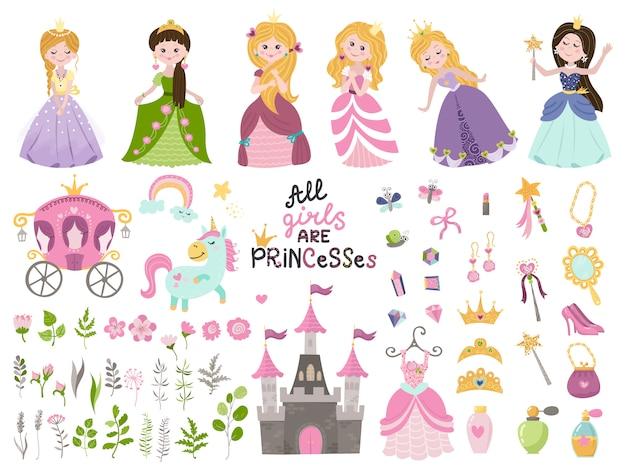 Conjunto de vector grande de hermosas princesas, castillo, carro y accesorios. Vector Premium