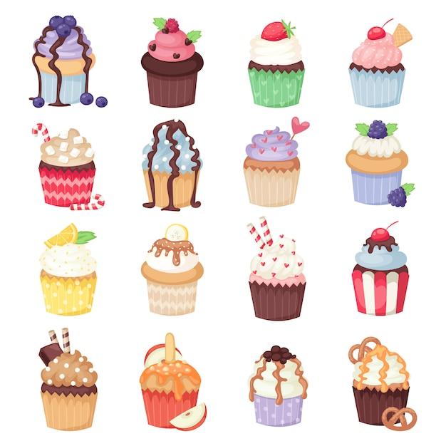 Conjunto de vector lindo cupcakes y muffins aislados en blanco Vector Premium