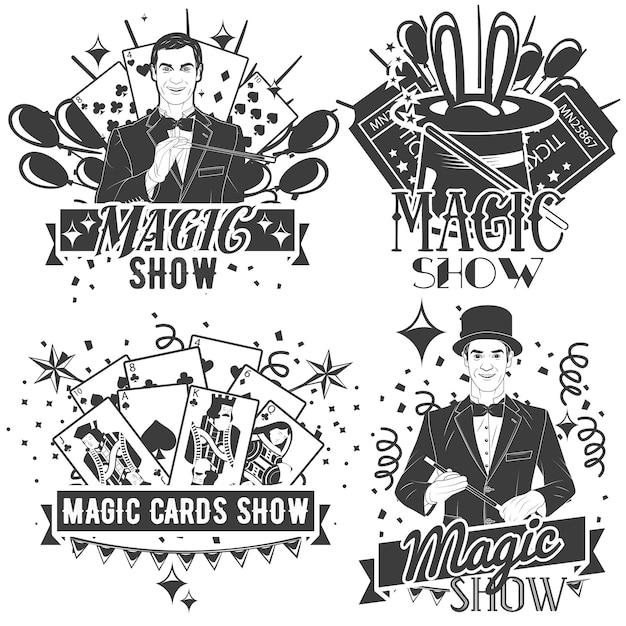 Conjunto de vector de logotipo show mágico en estilo vintage aislado. trucos de cartas Vector Premium
