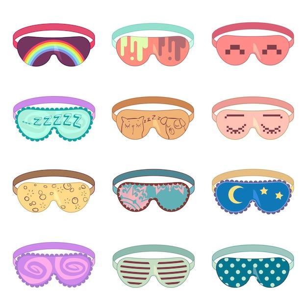 Conjunto de vector de máscara para dormir. máscara de protección, relajación para dormir, máscara de accesorios para relajarse, ilustración de ojos de máscara suave vector gratuito