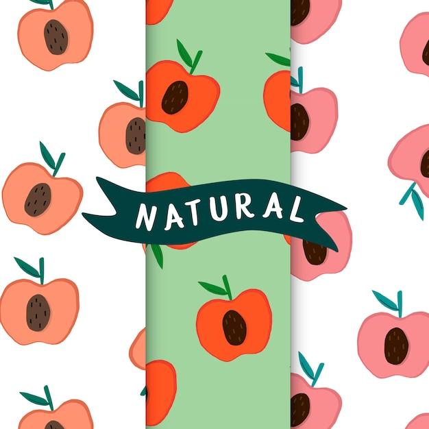 Conjunto de vector de patrones de fruta natural manzana vector gratuito