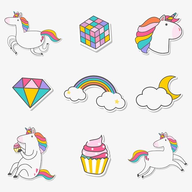 Conjunto de vector de pegatinas de unicornio vector gratuito