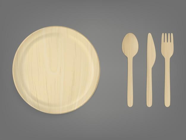 Conjunto de vector realista de vajilla de madera desechable vector gratuito
