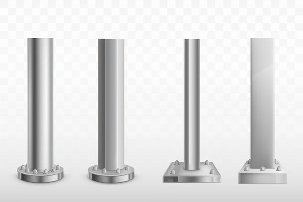 Conjunto de vector realista de varias pilas de acero atornillado vector gratuito
